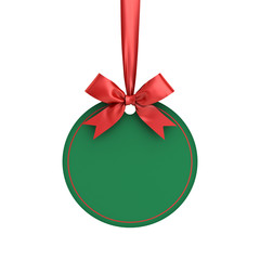 Blank green paper round christmas ball frame tag label card template hanging with shiny red ribbon and bow isolated on white background for christmas decoration 3D rendering