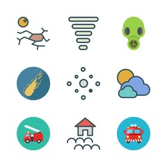 disaster icon set. vector set about fire truck, cloudy, meteor and drought icons set.