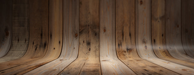 Old grungy and curved wooden background, banner Wall mural