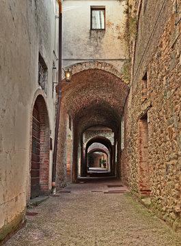 Castellina in Chianti, Siena, Tuscany, Italy: the ancient street Via delle Volte