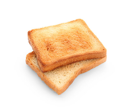 Tasty toasted bread on white background