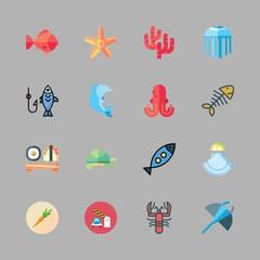 fish icon set. vector set about manta ray, fishing, healthy food and starfish icons set.