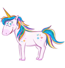 Cute Cartoon Unicorn  over white background