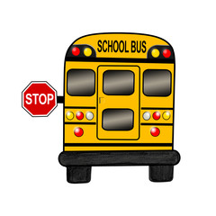 School bus with stop sign on white background - Illustration