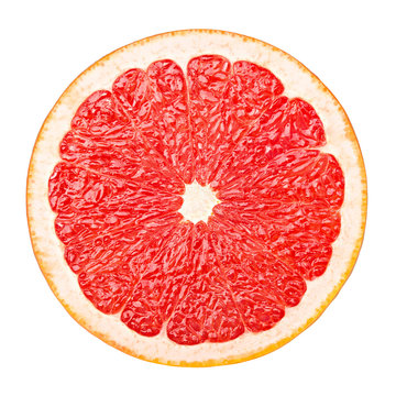 red grapefruit, clipping path, isolated on white background