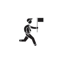 Personal achievement black vector concept icon. Personal achievement flat illustration, sign, symbol