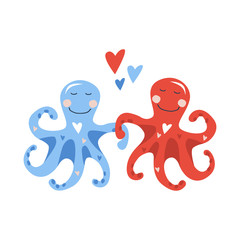 Vector hand drawn illustration of two cute blue little octopuses dancing with red and blue hearts. Valentine card 2019