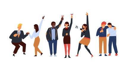 Corporate party vector illustration set with various business people in suits dancing, singing karaoke and drinking alcohol cocktails in flat style isolated on white background.