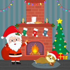 New Year and Christmas card. Santa Claus holds a bag with gifts and cookies. A cute puppy of corgi is sleeping by the fireplace in a room at night. Christmas tree with gifts. Cartoon, vector