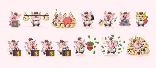 Set pig stickers emoticons for site infographic