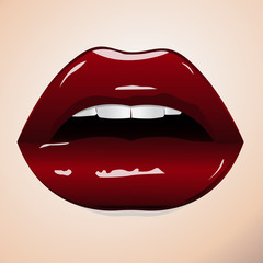 Sexy sweet red lips. Sweet sexy pop art. Shining gloss lipstick, erotic open mouth, sexual wet red lip, white teeth. A pair of glossy vector lips. Vector illustration
