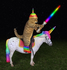 The cat alien in a helmet with horn and color boots with a glowing sword is riding the real unicorn on the battlefield at night.