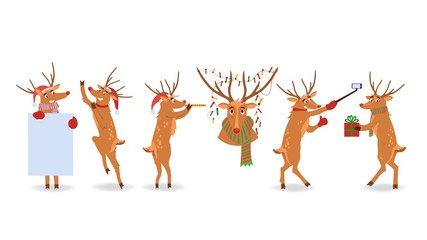 Vector illustration set of Christmas reindeer with red nose and various winter holiday symbols in flat style isolated on white background. Xmas scenes with nordic animal.