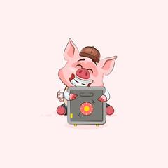 pig sticker emoticon hugs safe with money