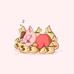 pig sticker emoticon sleeps on bags money