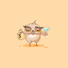 owl sticker emoticon with bag of money