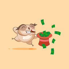 owl cigar jumping for joy with hat of money