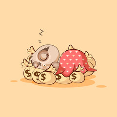 owl sticker emoticon sleeps on bags money