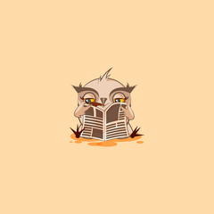 owl sticker emoticon with cigar reading newspaper