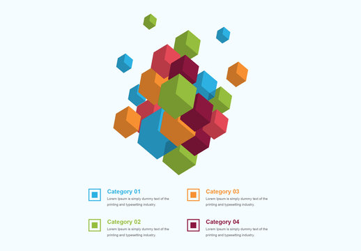 Infographic Layout with 3D Cube Element