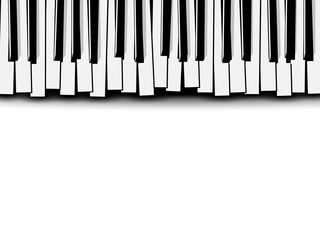 Top view of flat stylized monochrome piano keyboard on white background. Music invitation card.