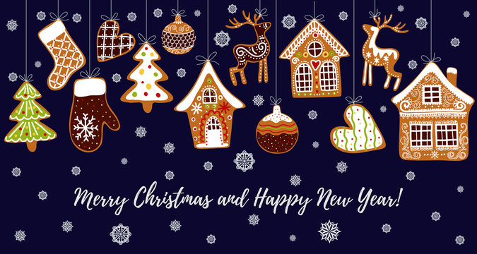 Gingerbread cookies background with an editable blank space in the middle. Christmas greeting card template.