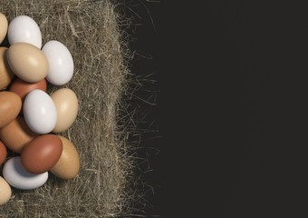 Many multi colored chicken eggs lie in bulk on a haystack on black background. Copy space. Top view. 3D render.