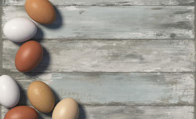 Many multi colored chicken eggs lie randomly on the old board with shabby paint. Copy space. Top view. 3D render.