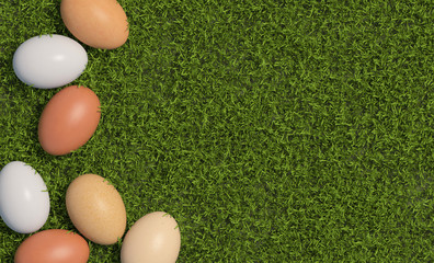 Multi colored chicken eggs are scattered on the background of green grass. Copy space. Top view. 3D render.
