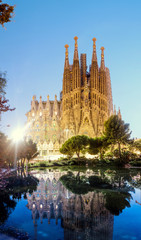 Panoramic view of Sagrada Familia Cathedral at evening time in Barcelona