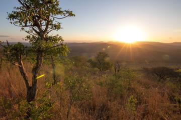 South Africa, sunset in hluhluwe park