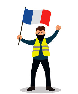 Young male protester in a yellow vest. Flat design. Demonstration of yellow vests against the new increase in taxes imposed by the French government.