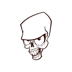 Skull line art. Isolated vector illustration.