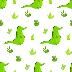 Seamless pattern with cute cartoon crocodile. Vector kids background.