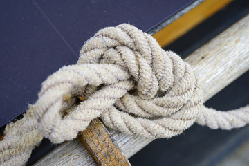 Close-up view of a traditional nautical loop knot made of rope
