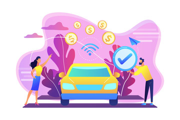 Business people paying in vehicle equiped with in-car payment system. In vehicle payments, in-car payment technology, modern retail services concept. Bright vibrant violet vector isolated illustration