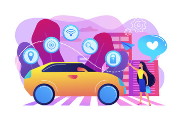Businesswoman with heart likes using autonomos car with technology icons. Autonomous car, self-driving car, driverless robotic vehicle concept. Bright vibrant violet vector isolated illustration