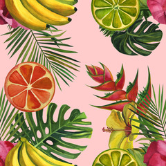 Watercolor pattern with tropical palm leaves, bananas, pineapples, flowers. Seamless pattern