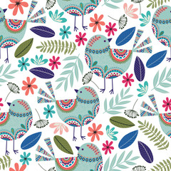 Floral pattern with birds, flowers and leaves on dark background