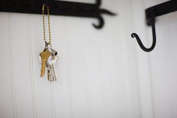 Keys hanging on a hook.
