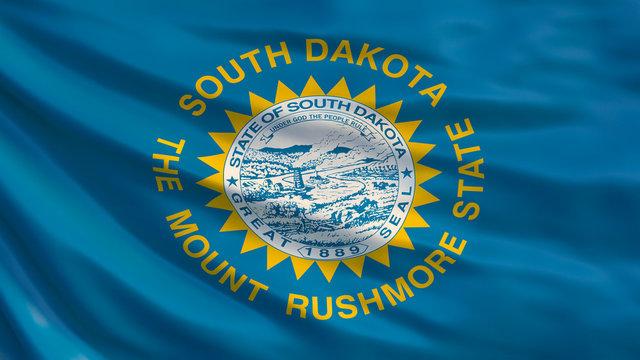 South Dakota  state flag. Waving flag of South Dakota state, United States of America. 3D Illustration