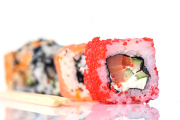 Sushi isolated on white background.