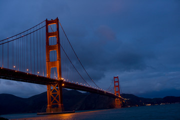The Golden Gate Bridge in the evening