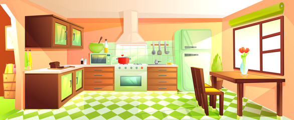 Modern kitchen interior with furniture. Design room with hood and stove and microwave and sink and refrigerator.