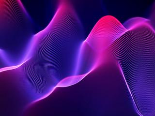 3D Sound waves, visual audio equalizer. Big data abstract visualization. Neon bright sound waves. Digital technology concept: virtual landscape. Modern background. EPS 10 vector illustration.