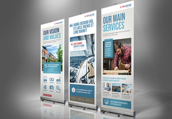 Roll-up Banner Layout with Blue and Red Accents