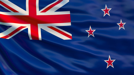 New Zealand flag. 3D Illustration