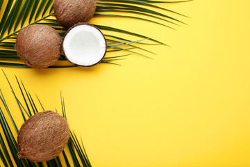 Ripe coconuts with palm leafs on yellow background