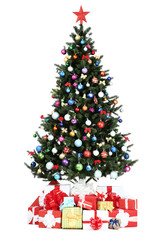 Christmas tree with decorations and gift boxes isolated on white background