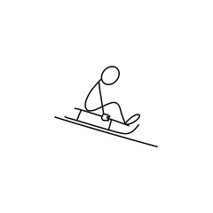 Stick figure man vector sledging down